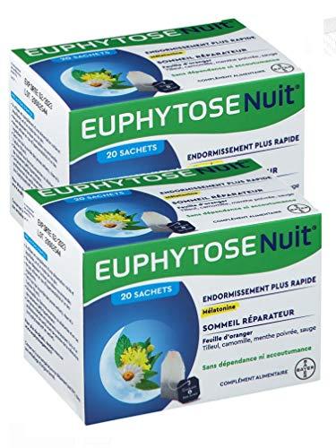 Euphytose nuit infusion Bayer - boite de 20 infusions - ENDORMISSEMENT PLUS RAPIDE & SOMMEIL REPARATEUR - Lot de 2 Boites de 20 Sachets (2)