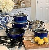 Induction Kitchen Cookware Sets Nonstick - Granite Hammered Pan Set 15 Piece, Dishwasher Safe Cooking Pots and Pans Set