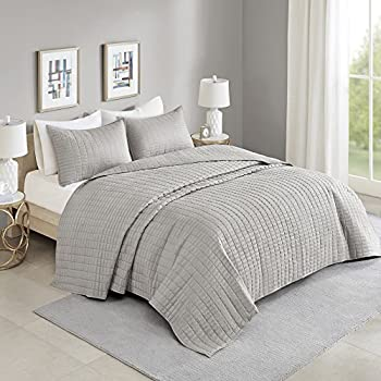 Comfort Spaces Kienna Quilt Set-Luxury Double Sided Stitching Design All Season Lightweight Coverlet Bedspread Bedding Matching Shams Oversized King  120 x118   Gray