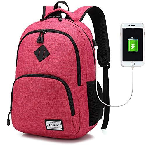 BSDZ Damen Rucksack Laptop für Frauen mädchen Schulrucksack mit USB-Ladeanschluss Oxford,Backpack,Reiserucksack,20-35L (Rosa)