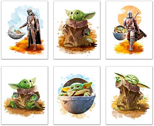 Baby Grogu Mandalorian Prints Set of 6 8 inches x 10 inches Wall Art Decor Poster Photos Star product image