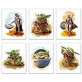 Baby Yoda Mandalorian Prints - Set of 6 (8 inches x 10 inches) Wall Art Decor Poster Photos - Star Wars TV Series Pedro Pascal