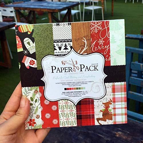 27pcs 6''Single-side Weihnachten dekoratives Scrapbooking-Papierset 24sheets gedruckt Hintergrund Bastelpapier C081