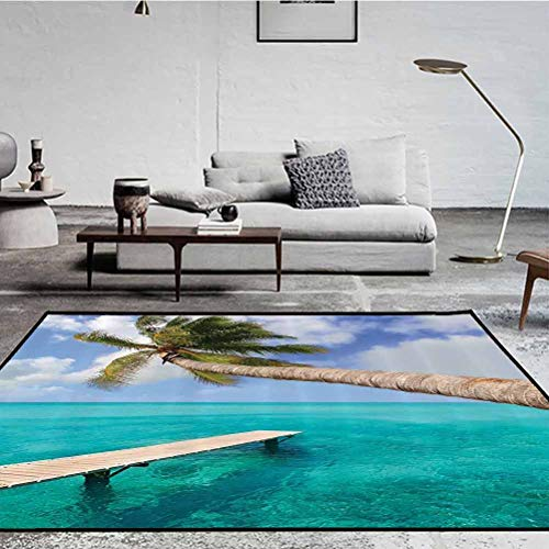 Wooden Bridge Decor Collection Polyester Geometric Pattern Rug Fashion Color Living Room Carpets Palm Tree Tropical Beach and Clear Ocean Jetty Landmark Picture Aqua Blue Green 1.7 x 4.9 ft