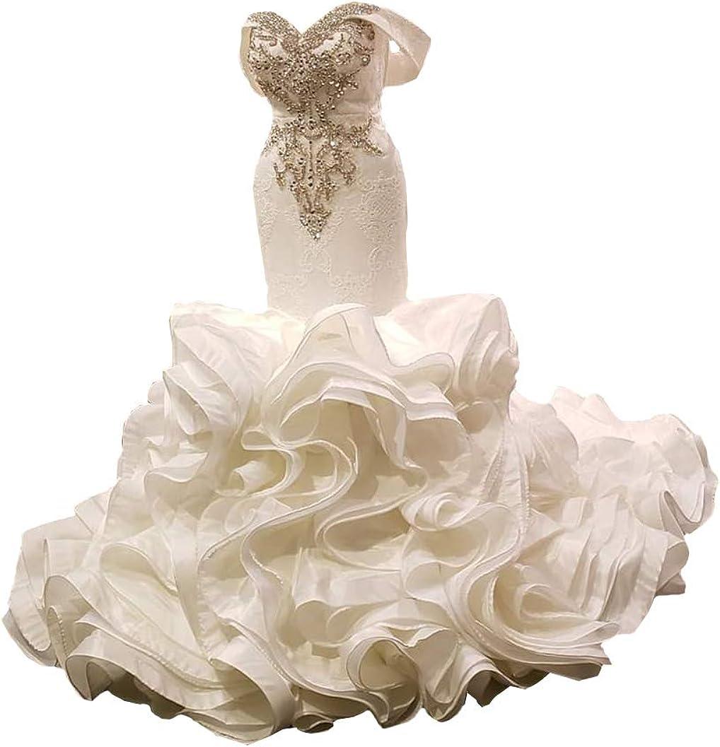 Elliebridal Beaded Rhinestones Women's Bridal Ball Gown Organza Mermaid Wedding Dresses with Ruffles Train for Bride