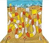 Fondo de fotografía de 1,5 x 2,1 m, para bloquear el camino en el parque de la ciudad de microfibra de tela de forro polar, con bolsillo para barra (solo telón de fondo) para fiestas temáticas