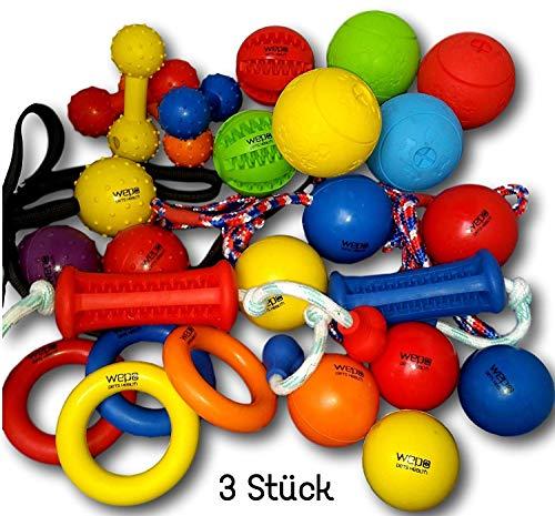 WEPO Hundespielzeug Set 3er Mix Intelligenzspielzeug Schleuderball Kauball Kauknochen Kauring Dentalball Wurfball