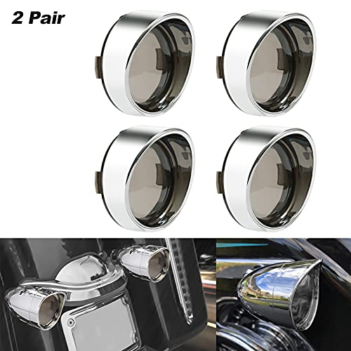 Amazicha 2 Inch Smoke Bullet Turn Signal Lens Cover with Chrome Visor Bezels Compatible for Harley Davidson Touring Dyna Softail Sportster (4pcs)