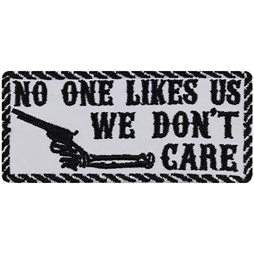 WE Don't Care Aufnäher Biker Aufbügler Rocker Patch Flicken lustige Bügelbilder Sticker Heavy Metal Geschenk Motorrad-Fahrer DIY Applikation für Leder-Jacke/Kutten/Tasche/Jeans-Weste weiß 100x45mm