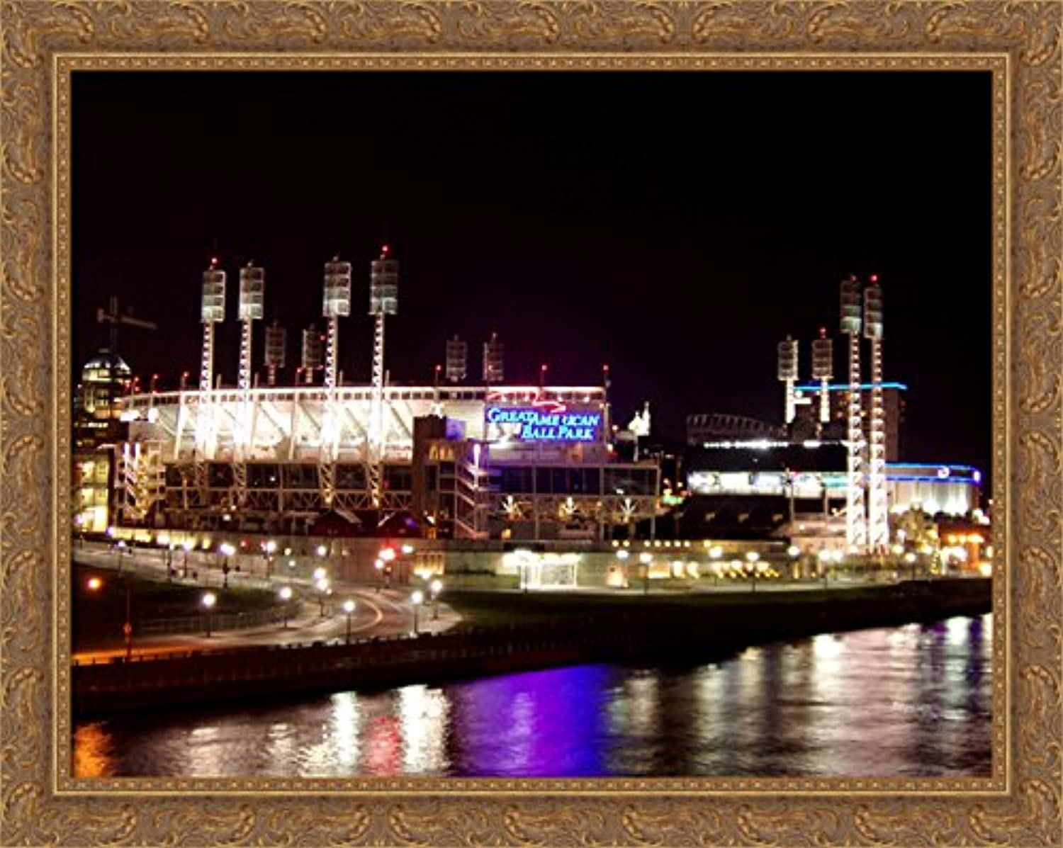 Great American Ballpark 36x28 Large gold Ornate Wood Framed Canvas ArtHome of the Cincinnati Reds