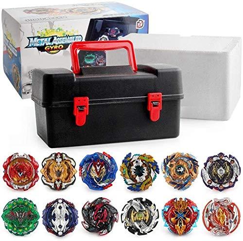DangLeKJ 12 Pieces/Set Battle Tops Case Toy, Beyblades Burst Launcher Battle, Multiplayer Game Burst Gyro Suitcase Gift (Color : Camouflage yellow)