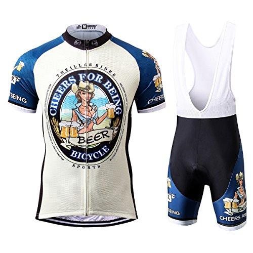 Thriller Rider Sports® Herren Cheers for Being Sport & Freizeit MTB Fahrradbekleidung Radtrikot und Trägerhose Anzüge X-Large
