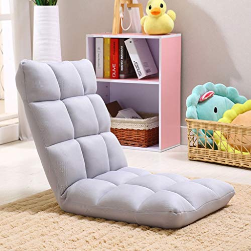 Dsrgwe Floor Sofa Chair Small Sofa Chair,Seat Cushion With 5 Adjustable Backrest,Folding Tatami Lazy Sofa,Bay Window Chair,for Reading, Watching, Video-Gaming (Color : Gray)
