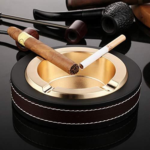 HHIPPSI Cenicero De Cigarros Hogar Moda Cuero Metal Resistente A La Corrosión Bolsillo 4 Puros Tabaco Cenicero De Cigarrillos Cenicero De Puros Dorado