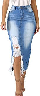 Meslima Women Casual Distressed Ripped Denim Jean Split Bodycon Stretched Skirt with Pocket