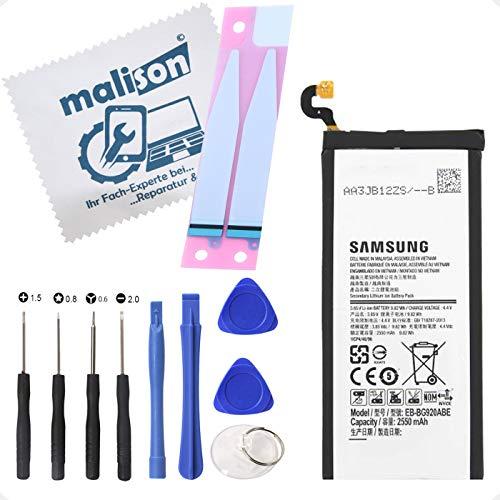 Akku für Original Samsung Galaxy S6 | SM-G920F | EB-BG920ABE | Ersatzakku | Ersatzbatterie | inklusiv Displayputztuch | Batterie mit Klebestreifen & Werkzeugset
