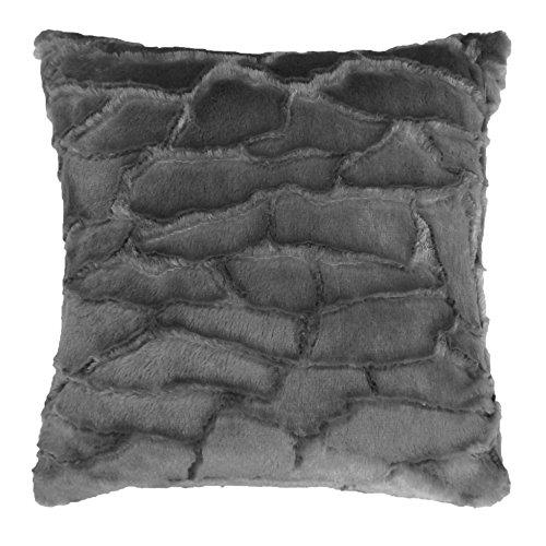 Douceur d'Intérieur Coussin Imitation Fourrure Ecaille Polyester Anthracite 40 x 40 cm
