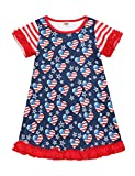 4th of July Toddler Baby Girls Clothes American Flag Stars Striped Printed Short Sleeve Ruffle Dress Independence Day Outfit Set 4-5T