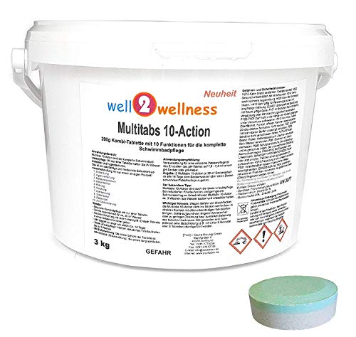 well2wellness Chlortabletten Pool Chlor Multitabs 10-Action 200g mit 10 Funktionen 3,0 kg