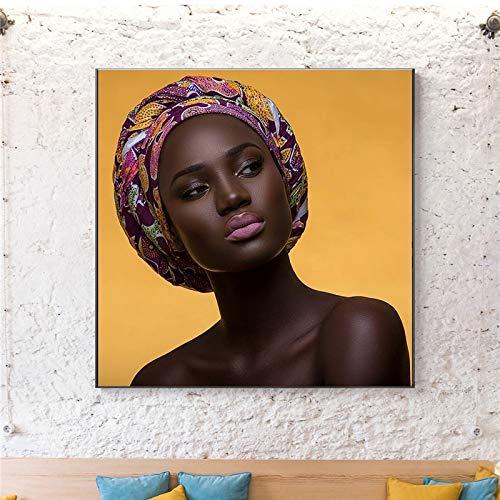 ganlanshu Afrikanische Schwarze Frau Leinwand Kunst Leinwand Poster Wohnzimmer Wanddekoration,Rahmenlose Malerei,70x70cm