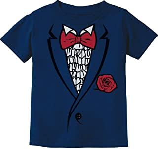 Printed Ruffled Tuxedo Suit with Red Bow Tie Boys Toddler/Infant Kids T-Shirt