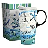 CEDAR HOME Coffee Ceramic Mug Porcelain Latte Tea Cup With Lid in Gift Box 17oz. North Beach