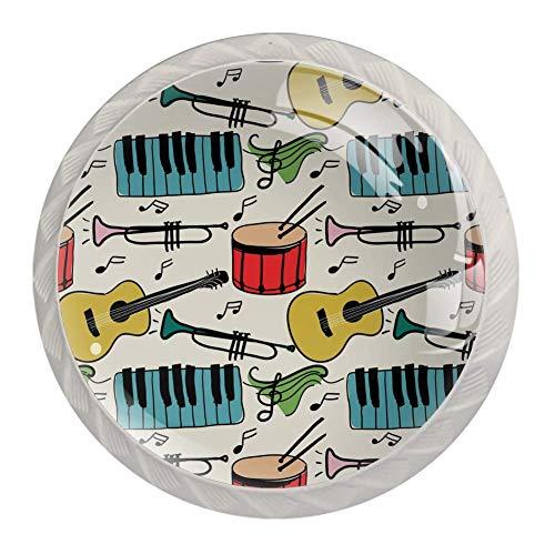 Knauf für Schrank Piano Guitar Drum Set Möbelknopf Kristall Schublade griffe küche möbel türgriffe schrank knöpfe schrankgriffe knauf 4 Stück 3.5×2.8CM
