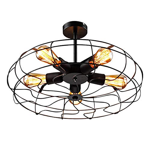 Industriële vintage-stijl inbouw plafondventilator met licht metaal hangbevestigingsverlichting met 5 lampen gebruiken E27 lamp