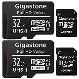 Gigastone マイクロSDカード 32GB 2個セット Micro SD card SDアダプタ付き U1 C10 SDHC 90MB/S Full HD 撮影