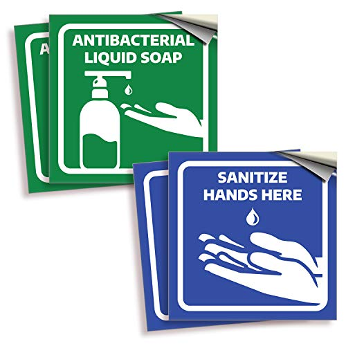 Antibacterial Soap/Sanitize Hands Signs Stickers – 4 Pack 6x6 Inch – Premium Self-Adhesive Vinyl, Labels, Laminated for Ultimate UV, Weather, Scratch, Water and Fade Resistance, Indoor & Outdoor