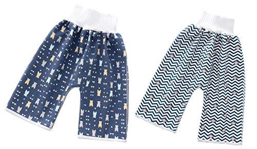EOZY Couche Lavable Bébé, Pantalon d'apprentissage Propreté, Couche Lavable Culotte Imperméable Enfant, Lot de 2 Pantalon d'entraînement Bébé en Coton
