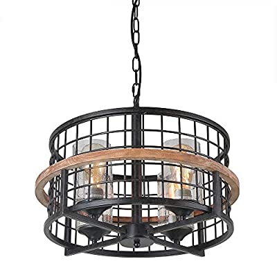 Giluta Rustic Round Chandelier Island Pendant Lighting Fixture 4-Lights with Seeded Glass Shade, Industrial Drum Chandelier for Dinning Room Living Room Doorway Farmhouse Foyer Bar, Black (C0050)