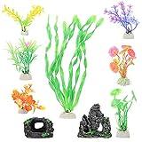 cabilock Plantas de Acuario Ornamentales Pecera Planta Artificial para Acuario Agua Subacuática Hierba Paisaje Decoración