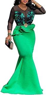 VERWIN Print Sleeveless Color Block Floor-Length High Waist Pullover Maxi Dress