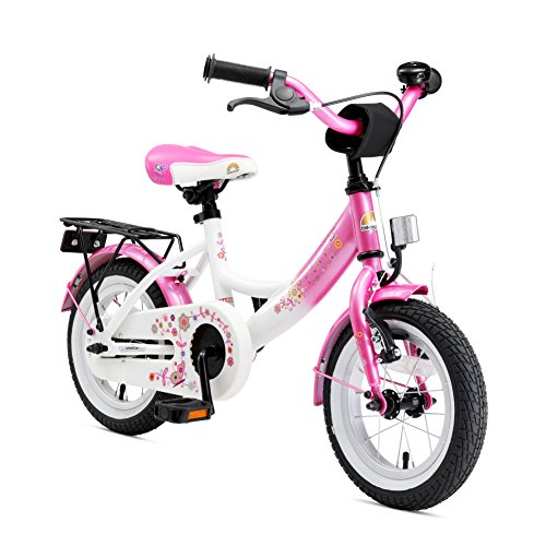 BIKESTAR Vélo Enfant pour Garcons et Filles de 3-4 Ans | Bicyclette Enfant 12 Pouces Classique avec Freins | Rose & Blanc