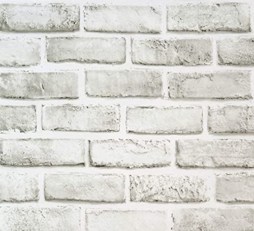 White/Grey Brick Wallpaper Self-Adhesive Wallpaper Removable Peel and Stick Wallpaper Cleanable Wall Paper Shelf Paper Fireplace Decoration Wallpaper 17.71' x 236.2'