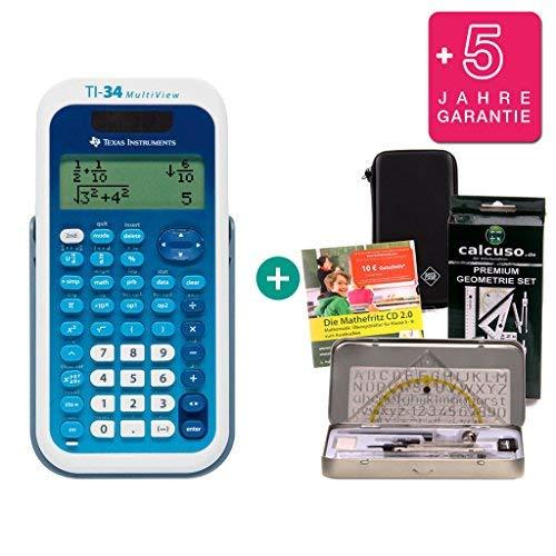Streberpaket: TI-34 MultiView + Schutztasche + Lern-CD (auf Deutsch) + Geometrie-Set + Erweiterte Garantie