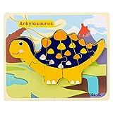 Rompecabezas tridimensionales de dinosaurios, rompecabezas de tablones de madera, juguetes de rompecabezas simples, juegos familiares, juguetes divertidos, regalos para niños (F)