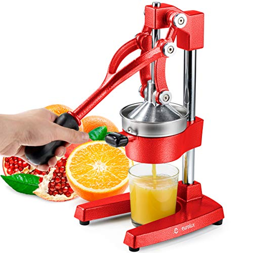 Eurolux Cast Iron Citrus Juicer | Commercial Grade Manual Hand Press | Countertop Squeezer for Fresh Fruit Juice (Bonus Stainless Steel Cup) (Red)