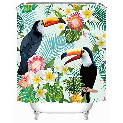 Kwboo Gemälde Dekoration. Palmenblätter. Tukan. Duschvorhang 180X180Cm. Wasserdicht Und Pflegeleicht. 3D Hd-Druck. Freier Haken.