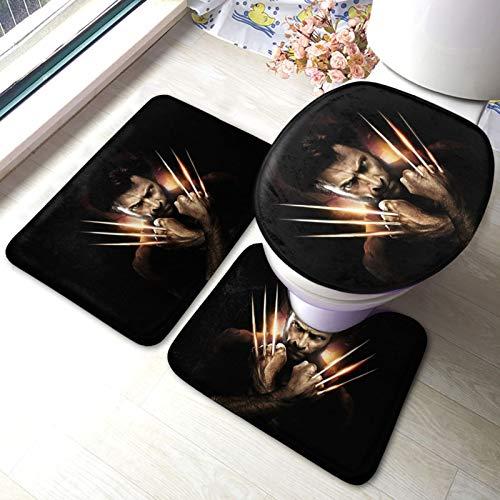 X-Men Wolverine - Juego de 3 alfombras de baño gruesas y cómodas, absorbentes, antideslizantes, base de inodoros, alfombras de baño