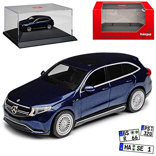 Mercedes-Benz EQC N293 SUV AMG Cavansit Blau Metallic Ab 2019 mit Sockel und Vitrine H0 1/87 Herpa Modell Auto