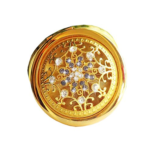 Maquillage pliante Portable Cosmetic pliant Voyage Pocket Mirror Compact-d'or