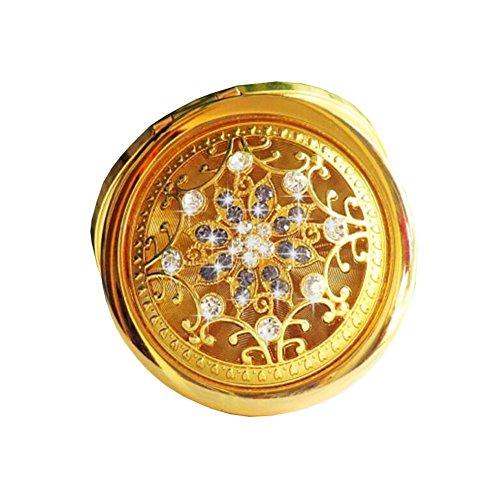 Maquillage pliante Portable Cosmetic pliant Voyage Pocket Mirror Compact-d'or