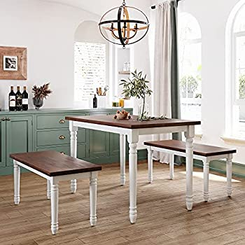 3-Piece Dining Table Set Solid Wood Kitchen Dining Table Set with 2 Benches Farmhouse Country Style Breakfast Nook Cherry+White  3-Piece Dining Table Set