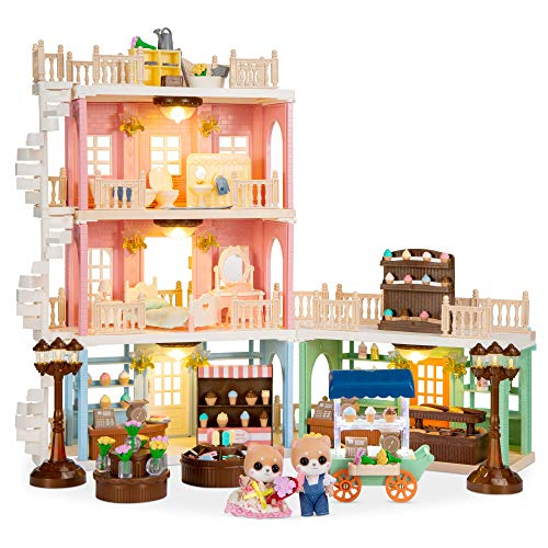 Best Choice Products Deluxe Cottage Dollhouse Town Mansion Playset Gift Set Pretend Play Toy with 225 Accessories and Tiny Critters for Kids