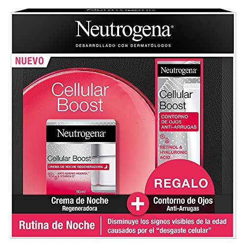 Neutrogena Cellular Boost Antiedad Rutina de Noche con Crema de Noche Regeneradora y Contorno de Ojos, Pack de 3 Unidades