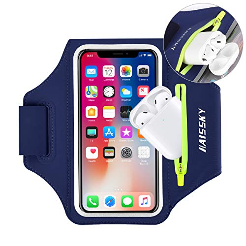 """Cell Phone Armband with AirPods Case for iPhone 12/11 Pro Max/XS/XR/8/7 Plus, Samsung A51 A10S A20S S10 S20 Up to 6.9"""", Water Resistant Phone Arm Band Holder for Gym Running Workout Exercise Sports"""