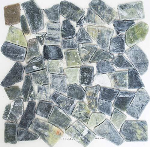 Mosaik Fliese Marmor Naturstein Bruch Ciot grau-grün MOS44-0208