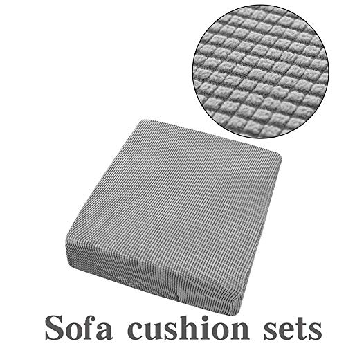 Paris Hill 13 Colors 1-4 Seat Nonslip Sofa Cushion Cover, Waterproof Jacquard Polyester Spandex Couch Seat Cover Solid Color Cushion Slipcover (No Cushion) Light Grey